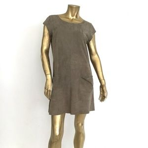JOIE MAROONE 100% GOAT LEATHER STRAIGHT CUT DRESS